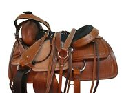 Team Roping Saddle Western Horse Trail Roper Ranch Tooled Leather Tack 15 16 17