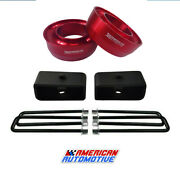 94-01 Dodge Ram 1500 Full Lift Kit 2wd 3 Red Front Spring Spacers 1.5 Rear