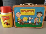 Antique 1959 Peanuts Charlie Brown Cartoon Metal Lunchbox With Thermos
