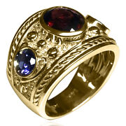 Men's 14k Solid Yellow Gold Natural Sapphire And Garnet Large Ring R2086