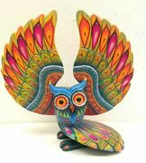 Pp2524 Oaxacan Wood Carving Hand Made Owl By Luis Sosa .