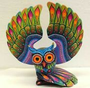 Pp2530 Oaxacan Wood Carving Hand Made Owl By Luis Sosa