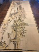 """Antique French Tapestry Large 20"""" X 57"""" Wall France Romantic Paris"""
