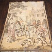 """Antique French Tapestry Large 20"""" X 28"""" Wall France Romantic Paris"""