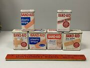 6 Vintage Johnson And Johnson Band-aid Empty Metal Tin Boxes Sheer Plastic Strips
