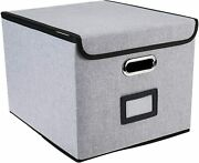 Collapsible File Storage Box With Lid Decorative Linen Filing Storage Organizer