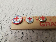 Vintage Red Cross Pinbacks 3 Total Pin Button 1920 And Others