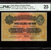 East Africa 20 Shillings - 1 Pound 1933 P-22 Pmg Vf 25 King George
