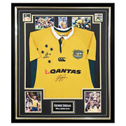 Signed George Gregan Jersey Framed - Wallabies Icon Autographed Shirt +coa