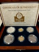 1992 Columbus Quincentenary Six Coin Silver And Gold Set 3 Proof 3 Unc In Box Coa