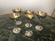 Set Of 5 Stainless Steel Liquer Retro Glasses Vintage In Original Condition