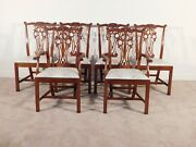 Set Of 6 Hickory Chair James River Collection Chippendale Mahogany Dining Chairs