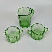 Hazel Atlas Green Glass Pitcher And Cup Lot - Colonial Depression Vintage H Over A
