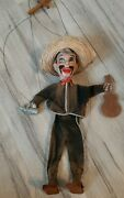 Vintage Mexican Marionette String Puppet With Bottle And Guitar
