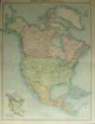 1922 Large Antique Map North America Dominion Of Canada United States Mexico