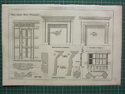 1877 Dated Architectural Print The Oaks West Bromwich Fireplace Details Panels