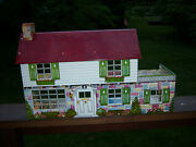 Vtg Neat Collector's Marx Suburban Colonial Doll House Metal Tin Toy Lithograph