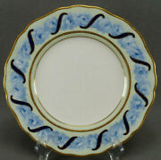 Cauldon Blue Roses Cobalt Ribbon Green And Gold Beaded Luncheon Plate C. 1890-1904
