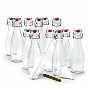 Set Of 12 | 17 Oz Glass Bottle Set With Airtight Swing Top Round Teardrop