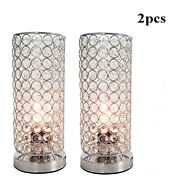 Modern Table Lamps Set Of 2 Stacked Crystal Ball Silver For Living Room Bedroom