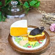 H20 Taxidermy Oddities Curiosities Mouse W/ Bread And Cheese Vintage Tray W /dome