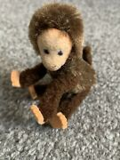 """Rare Antique Vintage 3"""" Schuco Monkey Brown Mohair And Chenille Posable Must See"""
