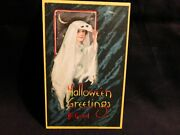 Vintage Halloween Peeking Out From Her Costume Postcard -by Nash- Scarce