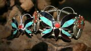 Zuni Sterling Silver Butterfly Turquoise Onyx Bracelet Ring Set 5 1/2 R Wallace