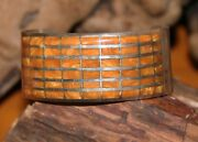 Zuni Signed Anc Sterling Cuff Tiger Eye Inlay Bracelet Native American Old Pawn