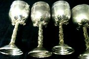Sterling Silver And Gold Kiddush Goblet /cups With Pear Shape Sapphire Stones