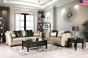Living Room Furniture Beige Fabric Cushion Couch Pillows 2pc Sofa Set Loveseat