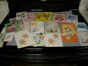 70's Or So Unused Vintage Greeting Card Lot 2 Glitter Scrapbook Craft Collect