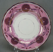 Hand Painted Pink Luster Floral Pearlware 10 5/8 Dinner Plate C. 1830-1840s A