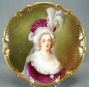 Limoges Hand Painted Signed F Furland Marie Antoinette Portrait 13 3/8 Charger