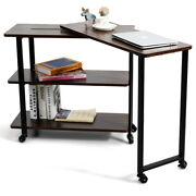 Sofa Side Table 360anddeg Rotating Bookcase Office Use W/storage Shelves And Wheels