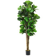 Costway 6and039 Artificial Fiddle Leaf Fig Tree Fake Indoor Patio Decor Plant Green
