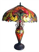 -style Liaison Victorian 3 Light Double Lit Table Lamp 18 Shade Glass