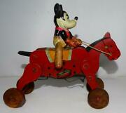 Disney 1930and039s Hand-painted Celluloid Mickey Mouse On Painted Wood Riding Horse