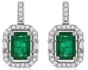 2.41ct Diamond And Aaa Emerald 14k White Gold Square Octagon Halo Hanging Earrings