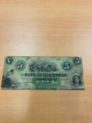1800and039s The Bank Of Commerce 5 Obsolete Currency Newbern North Carolina Note