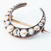 Victorian 14k Sterling Diamonds Natural Pearl Crescent Moon Brooch P0836