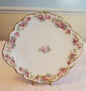 Bawo And Dotter Elite Works Serving Plate Tray Scalloped White Gold Trim Flowers