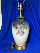Scarce Weller Art Pottery Hand Painted Eocean Pattern Large Table Lamp