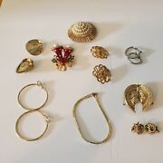 Vintage Clip On Earrings Bracelets Brooches Lot Of 9 Some Are Avon