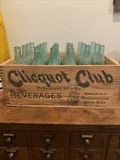 Vintage Clicquot Club Wood Crate And 22 Blue Bottles Industrial Wooden Crate