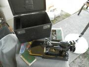 Vintage Singer 1851-1951 Featherweight 221 Sewing Machine Blue Badge + Extras