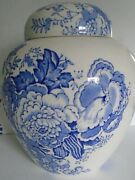 Atq Maling Newcastle-on-tyne England Blue And White Transfer Ware Ginger Jar 6