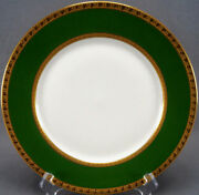Set Of 6 Straus Limoges Green And Gold Encrusted Clovers Dinner Plates Circa 1920s