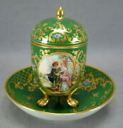 Dresden Hand Painted Courting Couple Raised Gold Enamel And Dark Green Covered Cup
