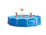 Intex 12and039 X 30 Metal Frame Above Ground Swimming Pool W/ Filter Pump